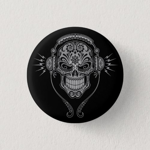 DJ Sugar Skull – Black Pinback Button