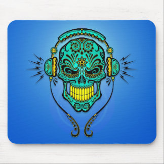 DJ Sugar Skull – Blue and Yellow Mouse Pad