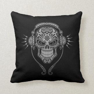 DJ Sugar Skull, dark Throw Pillows