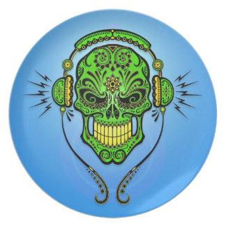 DJ Sugar Skull, green and blue Dinner Plate