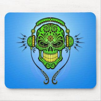 DJ Sugar Skull – Green and Blue Mousepad