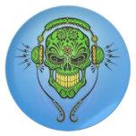 DJ Sugar Skull, green and blue Plate