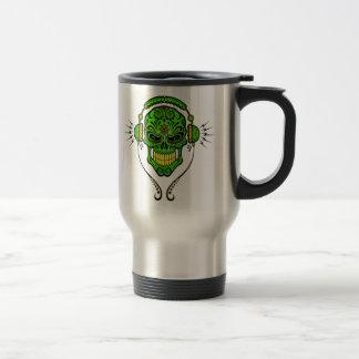 DJ Sugar Skull – Green and Yellow Travel Mug