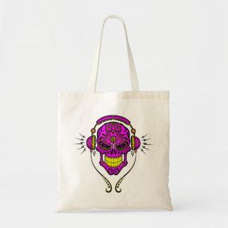 DJ Sugar Skull – Purple and Yellow Canvas Bags