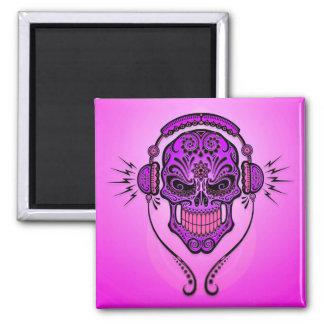 DJ Sugar Skull – Purple Refrigerator Magnet