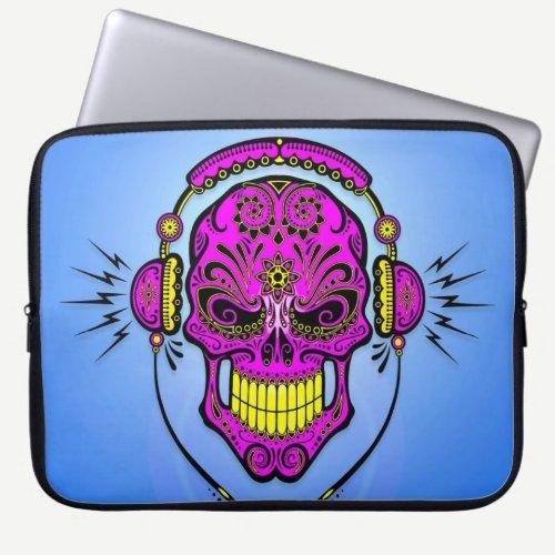 DJ Sugar Skull, purple on blue Laptop Sleeve