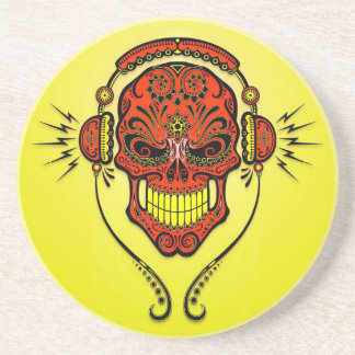 DJ Sugar Skull – Red and Yellow Beverage Coasters