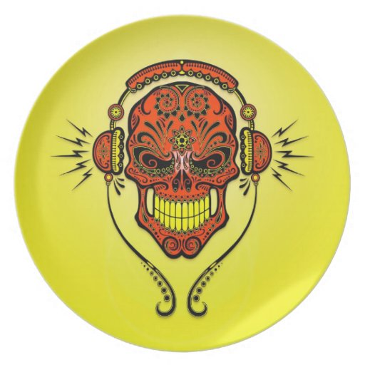 DJ Sugar Skull, red and yellow Dinner Plate