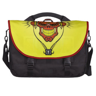 DJ Sugar Skull, red and yellow Commuter Bags