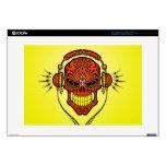 DJ Sugar Skull, red and yellow Laptop Skins