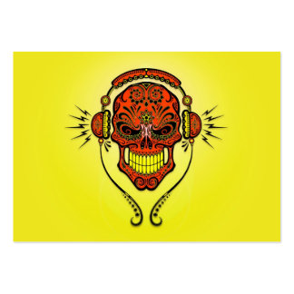 DJ Sugar Skull, red and yellow Large Business Card