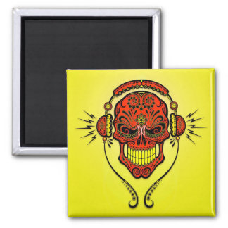DJ Sugar Skull – Red and Yellow Magnet