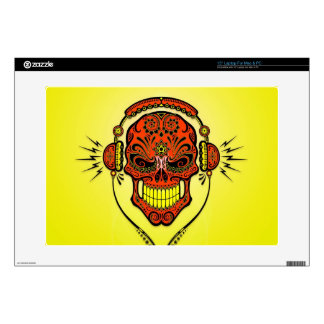 DJ Sugar Skull red and yellow Laptop Skins