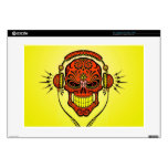 DJ Sugar Skull, red and yellow Skins For Laptops