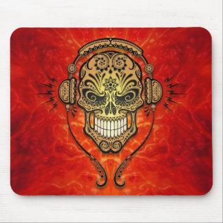 DJ Sugar Skull (red) Mouse Pad