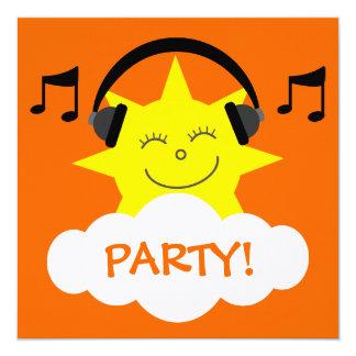 DJ Sun, Headphones & Musical Notes Customizable Card