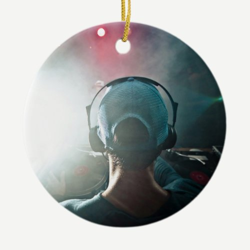 Dj Themed, View Behind Dj Booth With Turntables An Ceramic Ornament