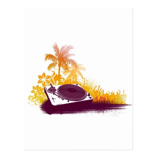 DJ Turntable Beach - Disc Jockey Music Deck Vinyl Postcard