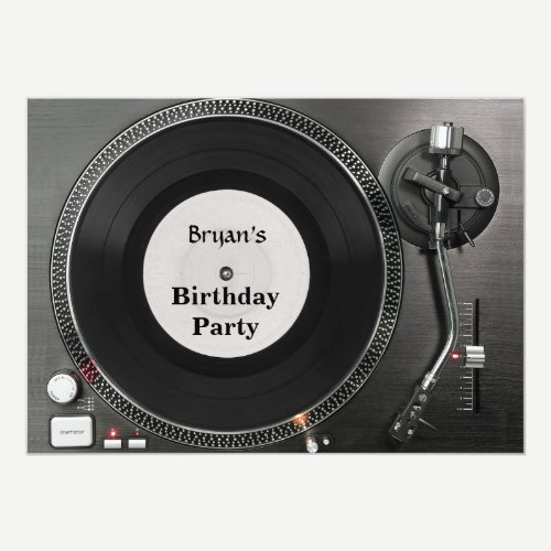 DJ turntable birthday Invitation