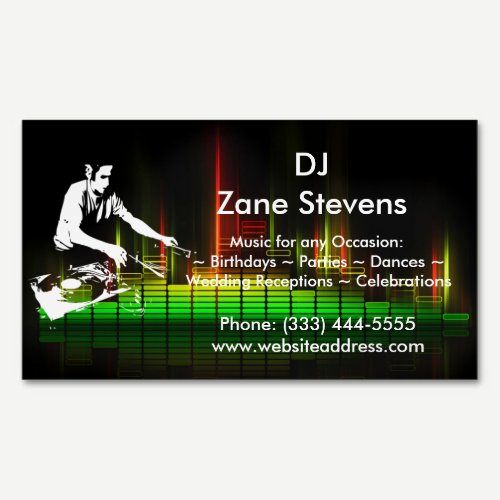 DJ Turntable Business Card Magnet