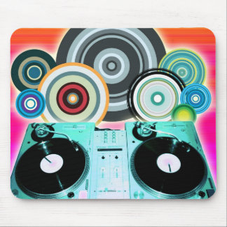 DJ Turntable Circles Mouse Pad