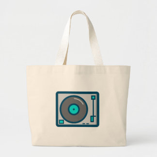 DJ Turntable Large Tote Bag