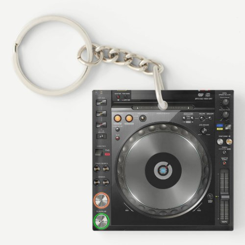 DJ turntable mix desk keychain