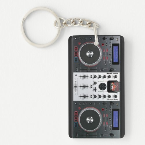 DJ turntable mix desk keychain