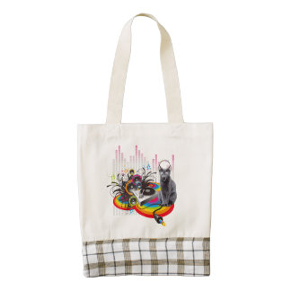 DJ Turntable Pumpin Music Cat Zazzle HEART Tote Bag