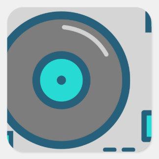 DJ Turntable Square Sticker