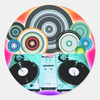 DJ Turntable with Vinyl - Pop Art Classic Round Sticker