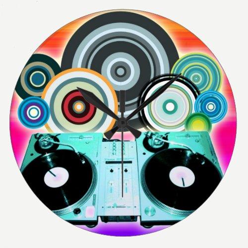 DJ Turntable with Vinyl - Pop Art Large Clock