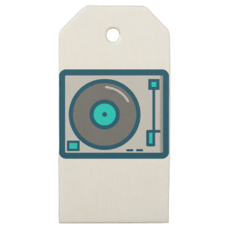 DJ Turntable Wooden Gift Tags