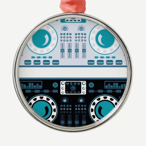DJ Turntables Vector Metal Ornament