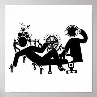 """""""DJ va abajo"""" del poster del arte pop"""