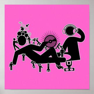 """DJ va abajo"" del poster del arte pop de las rosas"