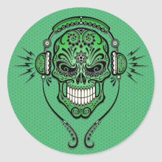DJ verde azucara el cráneo Pegatina Redonda