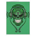 DJ verde azucara el cráneo Tarjetón