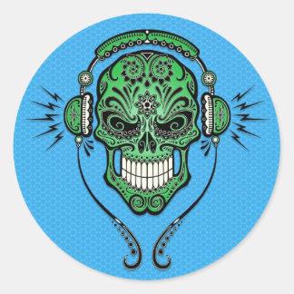 DJ verde y azul azucara el cráneo Pegatina Redonda
