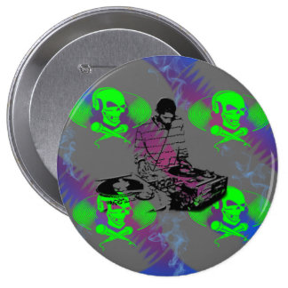 DJ Vinyl Spinner Pinback Buttons