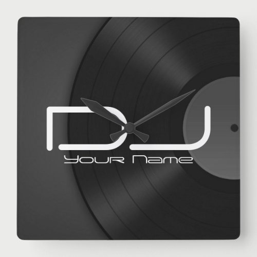 Dj Wall Clock with Vinyl Background