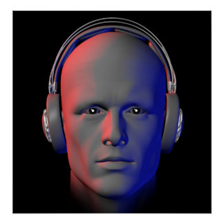 DJ with headphones illustration poster