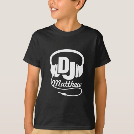 DJ your name white on black kids t-shirt