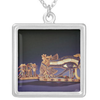 Djed pillar pectoral and wedjet eye pectoral silver plated necklace