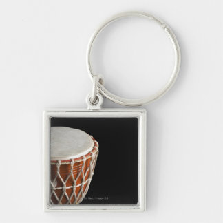 Djembe Silver-Colored Square Keychain