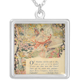 Djer Kiss French Perfume Label Silver Plated Necklace