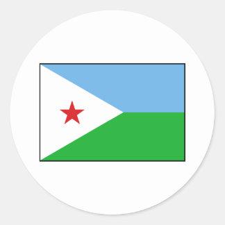 Djibouti - bandera de Yibuti Pegatina Redonda