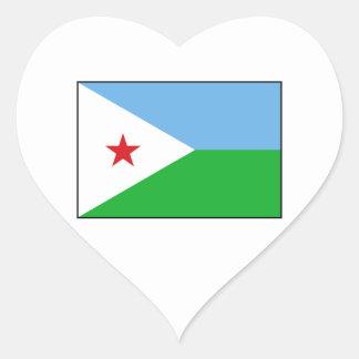 Djibouti - bandera de Yibuti Pegatina Corazón Personalizadas