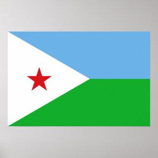 Djibouti - bandera de Yibuti Póster