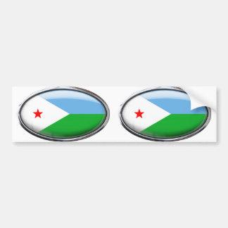 Djibouti Flag Glass Oval Bumper Sticker